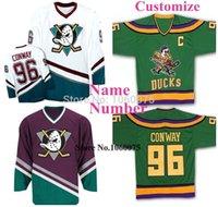 Mens Womens Juventude Beleza Verde 96 Charlie Conway Jersey Mighty Ducks Filme Jersey Jogo Worn 1993-94 Ausente Hóquei Personalizado Qualquer Nome Número S-6XL