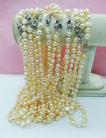"""Chokers Wholesale 50PCS 8-9MM White Pink Gray Natural Freshwater Baroque Pearl Necklace, 18"""","""