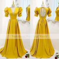 Yellow Prom Dress A Line Real Images 2022 V Neck Dress for Women Party Wear vestidos de fiesta Cocktail Gowns