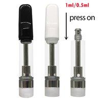 Vapes Cartridges Customized Atomizers press on tops 1.0ml 0.5ml Custom Empty Vape Pen Vaporizers Ceramic Atomizers Packaging Boxes E-cigarette TH205