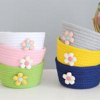 Storage Baskets Flowers Cotton Rope Basket Girls Desktop FoldingToy Bucket Picnic Dirty Clothes Box Organizer Bag