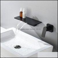 Faucets Faucets, Showers As Home & Gardenwaterfall Matte Black Wall Mounted Bathroom Bathtub Faucet Large Shelf Platform Basin Water Mixer Q
