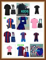 CamiSetas Football Messi Barcelona Футбол Джетки Barca FC 20 21 22 Ansu Fati 2021 2022 Griezmann F.de Jong Councinho Dest Kit Рубашка Мужчины Дети устанавливают носки