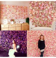 60x40cm Artificial Silk Hydrangea Rose Flower Wall Panels For Wedding Backdrop Centerpieces Party Decorations Wed Decorative Flowers & Wreat