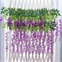 Decorative Flowers & Wreaths Wisteria Vine Artificial Silk Garland Arch Wedding Decoration Home Garden Hanging Plant Wall Decor