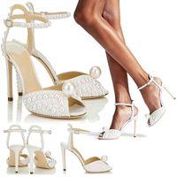 Sandals Women Wedding Bridals Crystal Stiletto High Heels Ankle Strap Sexy Peep Toe Elegant Evening Party Dress Shoes 2-H-SL-1