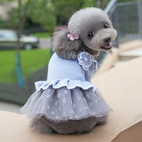 Dog Apparel Autumn Winter Dress Pet Sweater Princess Costume Wedding Dresses Poodle Bichon Schnauzer Pug Clothing Outfit