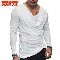 Icelion Spring T Shirt Homens Forma Dobrável Design T-shirt Sólida Manga Longa Hip Hop Streetwear Slim Fit Tshirt Tops