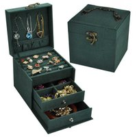Vintage Jewlery Box European-Style Small Multi-Layer Plaid Bracelet Ear Stud Princess Simple Jewelry Storage Cosmetic Case 211013