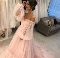 Long Pink Boat Neck Tulle Prom Dresses Lace Up Back Robe De Soiree Sweep Train Pleated Evening Formal Party Gowns