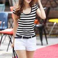Striped T-shirts Women Summer 2021 Graphic Tees Casual Short Sleeve TShirts For Woman Loose O-neck Harajuku Tops Women's T-Shirt