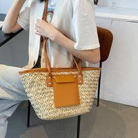 Evening Bags Straw Bag Women Hand-Woven Handbag Quality Leather Shoulder Beach Rattan Totes Lager Capacity Shopping Travel Bolsos