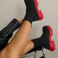 2021 bottes de chaussettes pour femmes talons chunky Heels automne plate-forme d'hiver décontracté décontracté bottillons courts bottes mi-veau chaussures de taille plus femme