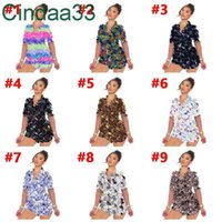 Women Tracksuits Two Pieces Set Designer Outfits Slim Sexy Casual Pattern Printed Short Sleeve Pajamas Home Wear Sportwear 9 Colours