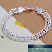 Charm Bracelets Fashion Jewelry 925 Sterling Silver 10mm Full Side Bracelet For Unisex Man Women Gift J551