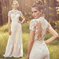 Country Jumpsuits Wedding Dresses  Gown Custom Made Elegnat High Neck Short Sleeve Lace Appliqued Beach Boho Bridal Gowns