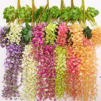 110 cm Ivy Flowers Seda Flor de seda Wisteria Vine Flor Ratán para Centros de Boda Decoraciones Bouquet Guirnalda OWF10244