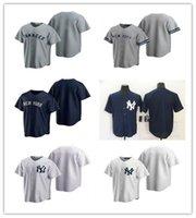 2021 Yankee мужчины женщины молодежные пользовательские бейсбольные джерси пустой реплика альтернативный синий белый серый