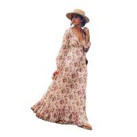 Abiti casual Plus Size Gypsy Hippie Style Floral Stampato Bianco Maxi Beach Dress Stampa Deep V Neck Botanico Vacanze Bohoo Vestidos