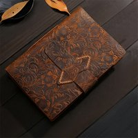 خمر اليدوية الجلود يوميات دفتر كراسة الرسم المفكرة السفر مجلة فارغة الكتابة ورقة الهدايا القرطاسية A5 KDJK2104