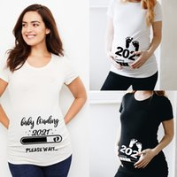 2021 Women Printed Pregnant T- Shirt Girl Maternity Short Sleeve Mom Clothes