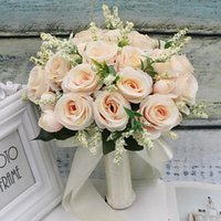 Wedding Flowers Arrival Bridal Bouquets Artificial Natural Champagne White Pink Green Rose Handmade Ribbon
