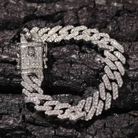 the Bling King 12mm S-link Miami Cuban Bracelets Gold Color Full Iced Rhinestones Hiphop Mens Bracelet Fashion Jewelry