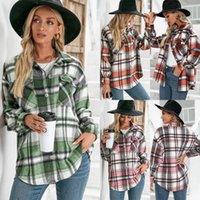 Women's Blouses & Shirts 2021 Warm Long-sleeved Shirt Blouse Women Thick Plush Loose Single-breasted Check Jacket Ladies Autumn Winter Outwe