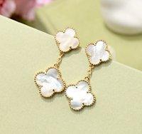 Classic Marque Four Feuilles Fleur Coquilles Deux Fleurs Boucles d'oreilles pour femmes Noir Rouge Green Pearl, Bijoux S925 Mother-Pearl S925
