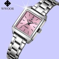 Armbanduhren Wwoor Frauen Watch Top Square Small Quarz Armbanduhr Rechteckige Silber Rosa Gesicht Edelstahl Damen