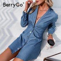 BerryGo High Street Camisa Azul Vestido Mulheres Manga Longa Bainha Verão Botão Casual Plissado Sólido Midi Streetwear Vestidos