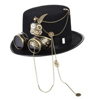 Steampunk With Goggles Vintage Men Black Top Gothic Halloween Women Fedora Chains Elegant Hat Head Wear Costume Party