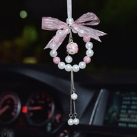 Interior Decorations Car Decoration Pendant String Of Pearls Bells Auto Rearview Mirror Hanging Ornaments Bling Pink Accessories For Girls