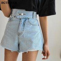 Damen Shorts BGTEEVER Hohe Taille Double Button Jeans Für Frauen 2021 Sommer Chic Ripped Edge Weibliche Denim Casual Bottoms