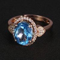 Cluster Rings Authentic 925 Silver For Women Oval Topaz Finger Beautiful Elegant Resizable Opening Type Custom