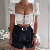 Vintage Crop Tops Square Collar Women Hooks Tops And Blouses Shirts Cropped Shirts Puff Sleeve Short Tunic Clothes