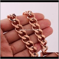 Chains Necklaces & Pendants Jewelrypolished Stainless Steel 11 13 15Mm Rose Gold Cuban Curb Cube Link Chain Mens Womens Necklace Or Bracelet