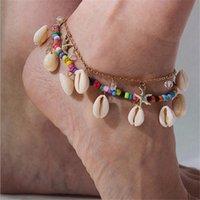 Tarjeta de deseos Tarjeta Wish Card Boho Shell For Woman Girls Capas Doble Estrella Estrella Seashell Beads Pulseras de pie Moda Joyería de verano Ne78