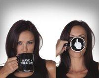 Gepersonaliseerde keramische koffiemok-hebben een mooie dag middenvinger gedrukt, theekopje