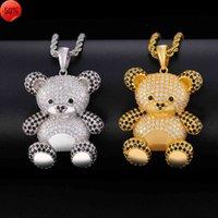 Animale Panda Shimmering Micro Zircon Street Hip Hop Jewelry Hiphop Men's Collana da uomo e collana da donna