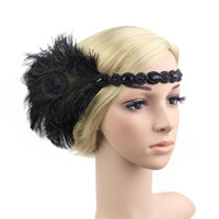Vintage Adult Hair Accessory Roaring 20s Great Gatsby Party Headpiece 1920s Flapper Girl Peacock Feather Headband Accessories
