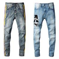 Поп-полоса сращивание моды Casua Mens Jeans Thrasher Wrangler Ретро джинсовые брюки высокого качества хип-хоп мотоцикл джин