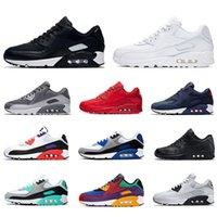 Nike Air max 90 Running shoes For Men shoes 고전적인 남성과 여성 스포츠 트레이너 메쉬 블루 블랙 쿠션 표면 통기성 크기 36-45