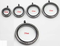 Pendant Necklaces Screw Stainless Steel Floating Locket With Rhinestone Living Memory Glass Father's Day Gift