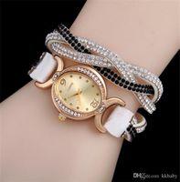 Wristwatches Crystal Kobiety Wrap Zegarki Korea Velvet Band Lady Skórzany Nadgarstek Owalne Diamentowe Dial Urocze Bransoletki Mix Colors