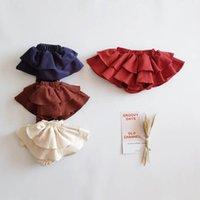 반바지 베이비 프릴 소녀 여름 면화 블루머 계층화 된 바지 공주 어린이 옷 어린이 0-3T B4558 착용