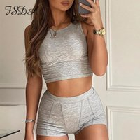 Women's Tracksuits FSDA 2021 Gray Two Piece Set O Neck Sleeveless Crop Top White And Shorts Biker Casual Women Summer Sport Outfit Ribber