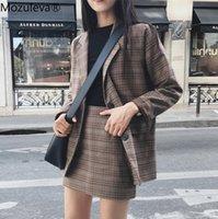 Рабочие платья Mozuleva 2021 ретро плед Blazer набор однобортный куртка карандаш юбка 2 штуки костюм женские офисные дамы