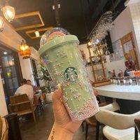 450ml Netter Regenbogen Starbucks Becher Tassen Doppelkunststoff mit Strohhalsten Haustiermaterial Für Kinder Erwachsene GirlFirend Geschenkprodukte DHL FY4479