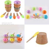 6pcs Bambini colorati gelato ciotola + cucchiaio di cono cucchiaio di plastica per bambini crostata stile dessert piccola cucina accessorie ciotole